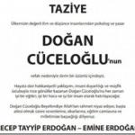 Erdoğan çiftinden Doğan Cüceloğlu için taziye ilanı