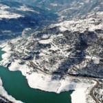 Yuvacık Barajı'nda kış güzelliği