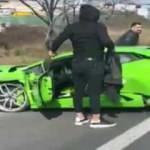 Lamborghini ile makas atarken kaza yaptı
