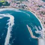Çanakkale Boğazı'nı kaplayan 'deniz salyası' havadan görüntülendi