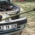 Otomobilin radyatörüne giren yılanı itfaiye çıkardı
