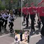Rusya'da 'çocuk ordu'ya attırılan sloganlar herkesi şoke etti