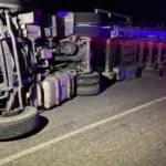 Devrilen tomruk yüklü TIR'ın şoförü öldü