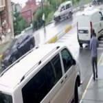 17 yaşındaki ehliyetsiz sürücü önce yayaya sonra dükkana çarptı