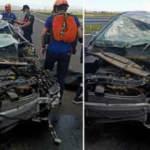 Bariyerlere çarpan otomobildeki karı-kocayı ölüm ayırdı
