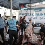 Gazze'de TDV'nin desteğiyle kesilen kurbanların etleri yoksul ailelere dağıtılacak