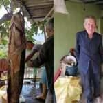 71 yaşındaki balıkçı oltayla 70 kiloluk yayın balığı yakaladı