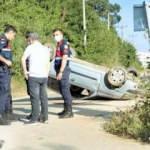 Karacabey'de kontrolden çıkan araç takla attı: 1 ölü