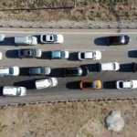 43 ilin geçiş güzergahında trafik kilit! Havadan böyle görüntülendi