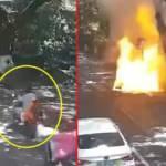Baba ve kızı dehşeti yaşadı: Elektrikli motosiklet bir anda alev topuna döndü!