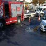 Sultanbeyli'de refüje çarpan otomobil takla attı