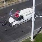 Malatya'daki kazada motosiklet sürücüsü havaya uçtu