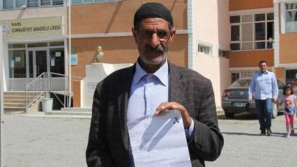 Kars'da 60 yaşındaki Zübeyit Özkaya KPSS'ye başvuru yaptı
