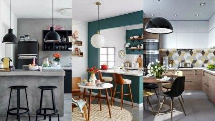 Küçük evler için Amerikan mutfak modelleri
