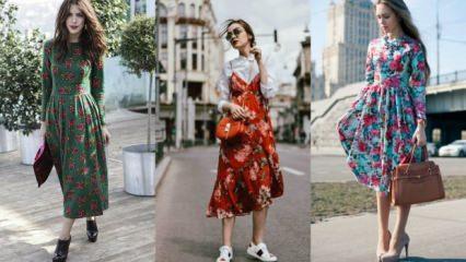 Sezonun trendi çiçekli elbise kombinleri