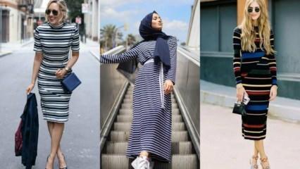 Yatay çizgili elbiseler nasıl kombinlenir?