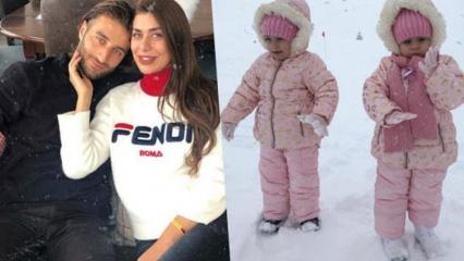 Ebru Şancı ve ikiz bebekleri kar tatilinde