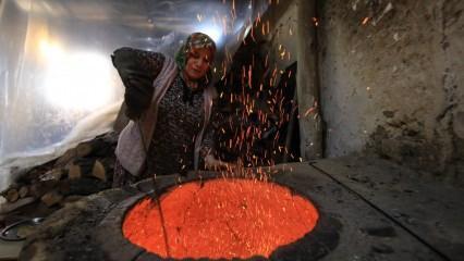 Fatma teyze tandır ateşinde ekmeğini kazanıyor
