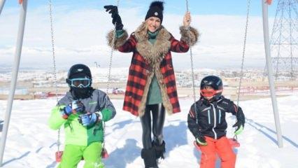 Çağla Şıkel çocuklarıyla kar tatilinde