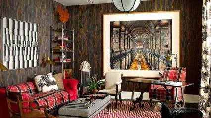 Ekose desenli ev dekorasyon fikirleri