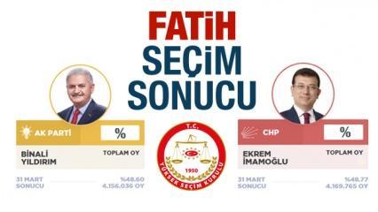 İBB Fatih seçim sonuçları açıklandı! CHP Ak Parti oy farkı ne kadar?