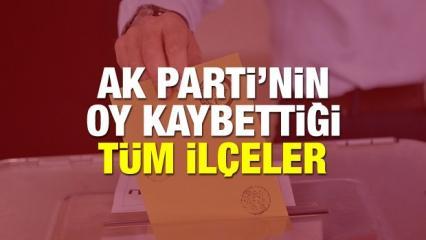 AK Parti'nin 23 Haziran seçiminde oy kaybettiği ilçeler: 39 ilçenin kıyaslaması
