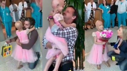 Kanseri yenen küçük kızın hastaneden ayrılışı duygulandırdı!