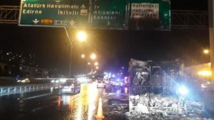 TEM'de özel halk otobüsü yandı!