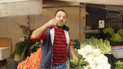 Pazarcılar çıkan haberlere çiğ ıspanak yiyerek tepki gösterdi