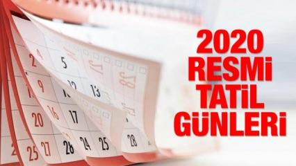 2020 Resmi tatil günleri belli oldu!