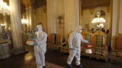 Saraylar koronavirüs tehdidine karşı dezenfekte ediliyor
