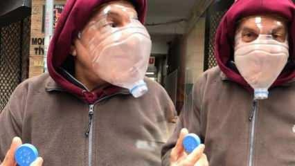 Koronaya karşı pet şişeli maske