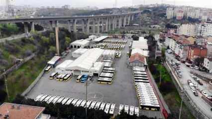 İETT'nin garaja çektiği otobüsler havadan görüntülendi