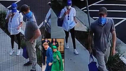 Harry ve Markle yardım dağıtırken güvenlik kamerasına takıldı