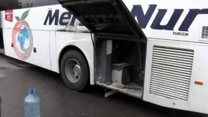 Hareket halindeki yolcu otobüsünde yangın