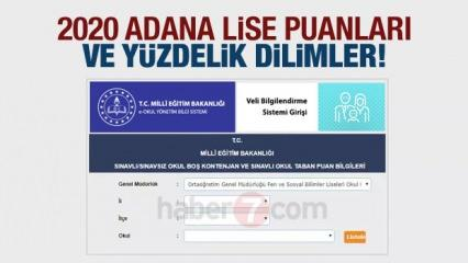 Adana 2020 nitelikli okullar taban puanları ve LGS yüzdelik dilimleri