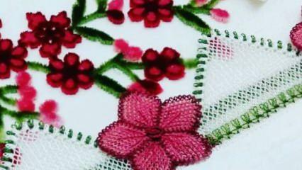 Birbirinden güzel çiçek motifli iğne oyası havlu kenarı modelleri