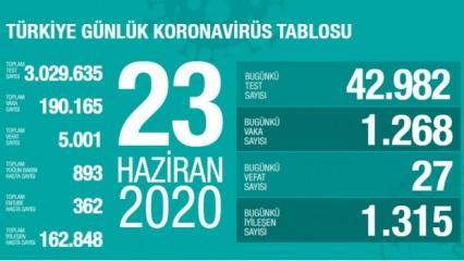 Son dakika haberi: 23 Haziran koronavirüs tablosu! Vaka, ölü sayısı ve son durum açıklandı