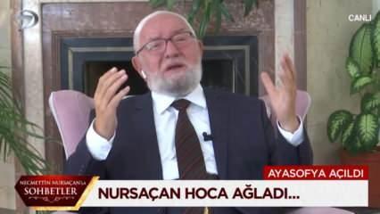 Nursaçan Hoca Ayasofya haberini alınca canlı yayında gözyaşlarına boğuldu