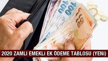 Emekli ek ödemeleri kaç TL arttı? 2020 Zamlı Bağ-Kur SSK memur emeklisi ek ödeme tablosu!