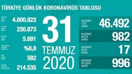 Son dakika haberi: 31 Temmuz koronavirüs tablosu! Vaka, ölü sayısı ve son durum açıklandı