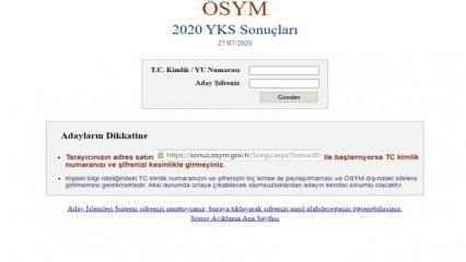 YKS  sonuç sorgulama 2020 ekranı: ÖSYM Üniversite sınav sonuçlarını açıkladı!