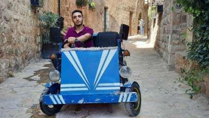 Mardin'de harçlıklarıyla aldığı hurdalardan araba yaptı