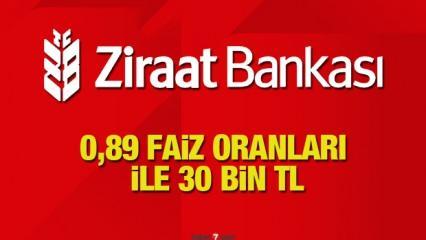 Ziraat Bankası 0,89'dan 30 bin TL 60 ay taksitle İhtiyaç Kredi! Kredi başvuru şartı
