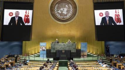 Başkan Erdoğan'ın sözleri BM'de salonu terk ettirdi