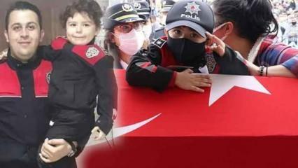 Minik Poyraz, şehit babasını asker selamıyla uğurladı