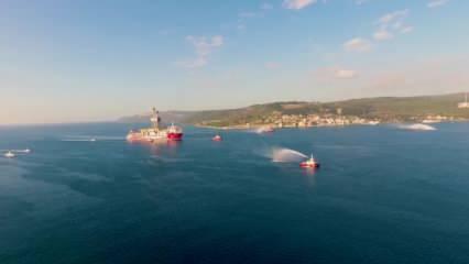 Kanuni sondaj gemisi 'Şehitler Abidemizi' selamlayarak çıktı