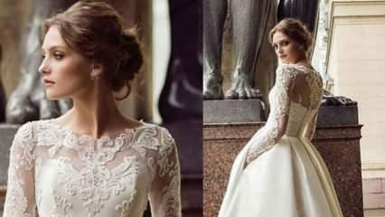Kış düğünlerine özel en güzel Fransız dantelli gelinlik modelleri