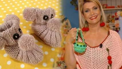 Ponponlu bebek patiği nasıl yapılır? Derya Baykal ponponlu örgü patik yapımı