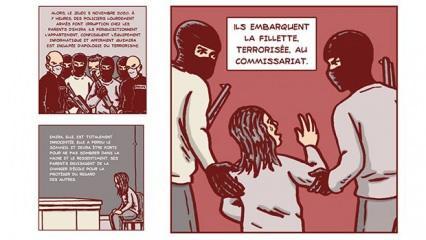 Fransa'nın 3'ü Türk 4 Müslüman çocuğa 'terörist muamelesi yapması' çizgi roman konusu oldu